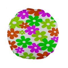 Flowers Floral Sunflower Rainbow Color Pink Orange Green Yellow Standard 15  Premium Flano Round Cushions