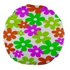 Flowers Floral Sunflower Rainbow Color Pink Orange Green Yellow Large 18  Premium Flano Round Cushions