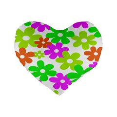 Flowers Floral Sunflower Rainbow Color Pink Orange Green Yellow Standard 16  Premium Flano Heart Shape Cushions