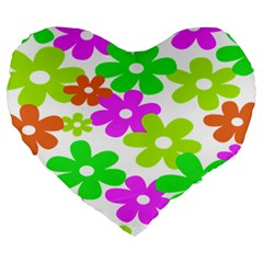 Flowers Floral Sunflower Rainbow Color Pink Orange Green Yellow Large 19  Premium Flano Heart Shape Cushions