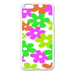 Flowers Floral Sunflower Rainbow Color Pink Orange Green Yellow Apple Iphone 6 Plus/6s Plus Enamel White Case
