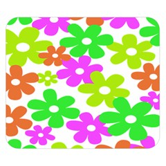 Flowers Floral Sunflower Rainbow Color Pink Orange Green Yellow Double Sided Flano Blanket (small)