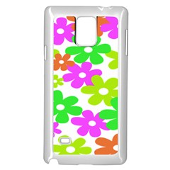 Flowers Floral Sunflower Rainbow Color Pink Orange Green Yellow Samsung Galaxy Note 4 Case (white)