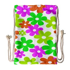Flowers Floral Sunflower Rainbow Color Pink Orange Green Yellow Drawstring Bag (large) by Alisyart