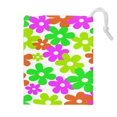 Flowers Floral Sunflower Rainbow Color Pink Orange Green Yellow Drawstring Pouches (extra Large) by Alisyart