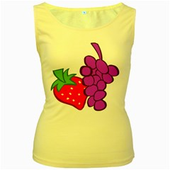 Fruit Grapes Strawberries Red Green Purple Women s Yellow Tank Top by Alisyart