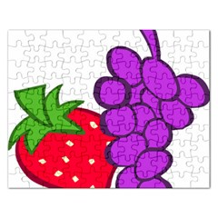 Fruit Grapes Strawberries Red Green Purple Rectangular Jigsaw Puzzl by Alisyart