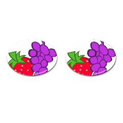 Fruit Grapes Strawberries Red Green Purple Cufflinks (oval) by Alisyart