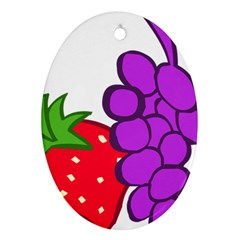 Fruit Grapes Strawberries Red Green Purple Oval Ornament (two Sides) by Alisyart