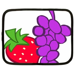 Fruit Grapes Strawberries Red Green Purple Netbook Case (large) by Alisyart