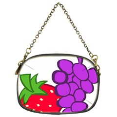 Fruit Grapes Strawberries Red Green Purple Chain Purses (two Sides)  by Alisyart