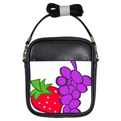 Fruit Grapes Strawberries Red Green Purple Girls Sling Bags by Alisyart