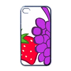 Fruit Grapes Strawberries Red Green Purple Apple Iphone 4 Case (black) by Alisyart