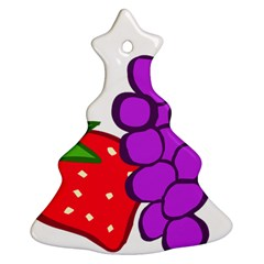 Fruit Grapes Strawberries Red Green Purple Christmas Tree Ornament (two Sides) by Alisyart