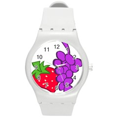 Fruit Grapes Strawberries Red Green Purple Round Plastic Sport Watch (m) by Alisyart