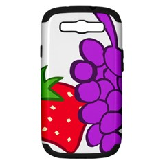 Fruit Grapes Strawberries Red Green Purple Samsung Galaxy S Iii Hardshell Case (pc+silicone) by Alisyart