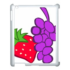 Fruit Grapes Strawberries Red Green Purple Apple Ipad 3/4 Case (white) by Alisyart