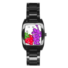 Fruit Grapes Strawberries Red Green Purple Stainless Steel Barrel Watch