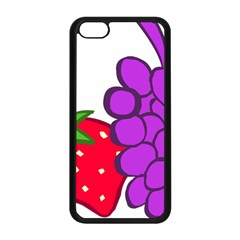 Fruit Grapes Strawberries Red Green Purple Apple Iphone 5c Seamless Case (black) by Alisyart