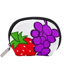 Fruit Grapes Strawberries Red Green Purple Accessory Pouches (small)  by Alisyart