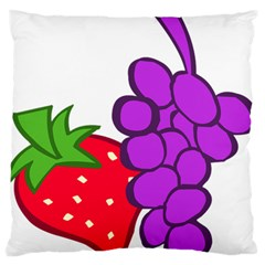 Fruit Grapes Strawberries Red Green Purple Large Flano Cushion Case (one Side) by Alisyart