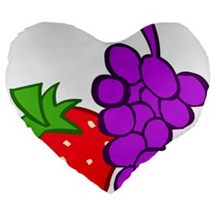 Fruit Grapes Strawberries Red Green Purple Large 19  Premium Flano Heart Shape Cushions