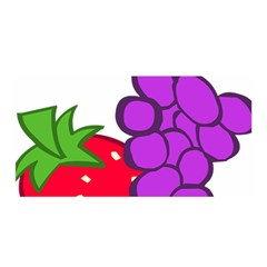 Fruit Grapes Strawberries Red Green Purple Satin Wrap by Alisyart