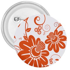 Floral Rose Orange Flower 3  Buttons by Alisyart