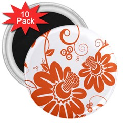 Floral Rose Orange Flower 3  Magnets (10 Pack)  by Alisyart