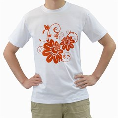 Floral Rose Orange Flower Men s T Shirt (white) (two Sided) by Alisyart