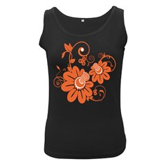 Floral Rose Orange Flower Women s Black Tank Top