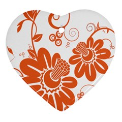 Floral Rose Orange Flower Heart Ornament (two Sides) by Alisyart
