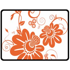 Floral Rose Orange Flower Fleece Blanket (large)  by Alisyart