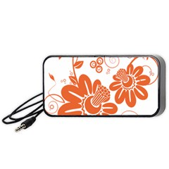 Floral Rose Orange Flower Portable Speaker (black) by Alisyart