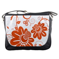 Floral Rose Orange Flower Messenger Bags by Alisyart