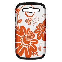 Floral Rose Orange Flower Samsung Galaxy S Iii Hardshell Case (pc+silicone) by Alisyart