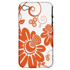 Floral Rose Orange Flower Apple Iphone 4/4s Hardshell Case (pc+silicone) by Alisyart
