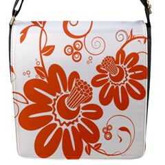 Floral Rose Orange Flower Flap Messenger Bag (s) by Alisyart