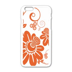 Floral Rose Orange Flower Apple Iphone 6/6s White Enamel Case by Alisyart