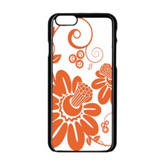 Floral Rose Orange Flower Apple Iphone 6/6s Black Enamel Case