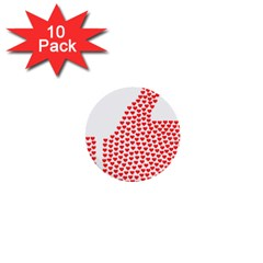 Heart Love Valentines Day Red Sign 1  Mini Buttons (10 Pack)  by Alisyart
