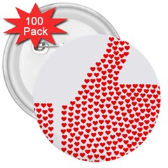 Heart Love Valentines Day Red Sign 3  Buttons (100 Pack)