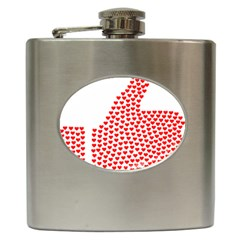 Heart Love Valentines Day Red Sign Hip Flask (6 Oz) by Alisyart
