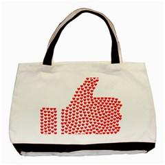 Heart Love Valentines Day Red Sign Basic Tote Bag (two Sides) by Alisyart