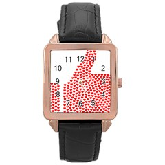 Heart Love Valentines Day Red Sign Rose Gold Leather Watch  by Alisyart