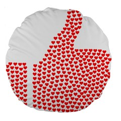 Heart Love Valentines Day Red Sign Large 18  Premium Flano Round Cushions