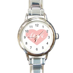 Love Valentines Heart Pink Round Italian Charm Watch by Alisyart