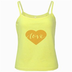 Love Valentines Heart Pink Yellow Spaghetti Tank by Alisyart