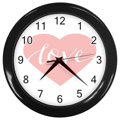Love Valentines Heart Pink Wall Clocks (black) by Alisyart