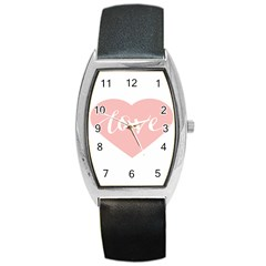 Love Valentines Heart Pink Barrel Style Metal Watch
